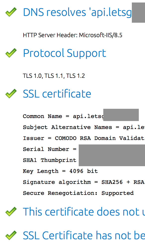 Green checkmarks in front of many common SSL checks